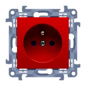 Simon 10 CGZ1Z.01/22 - Gniazdo wtyczkowe pojedyncze z uziemieniem i przesłonami torów prądowych w kolorze Czerwonym 16A - Czerwony - Podgląd zdjęcia nr 1