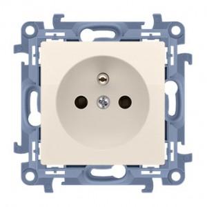 Simon 10 CGZ1Z.01/41 - Gniazdo wtyczkowe pojedyncze z uziemieniem i przesłonami torów prądowych 16A - Kremowy - Podgląd zdjęcia nr 1