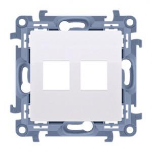 Simon 10 CKP2.01/11 - Pokrywa gniazda komputerowego Keystone płaska podwójna - Biały - Podgląd zdjęcia nr 1