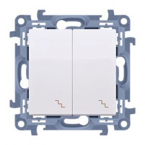 Simon 10 CW6/2L.01/11 - Łącznik schodowy podwójny z podświetleniem LED 10A - Biały - Podgląd zdjęcia nr 1