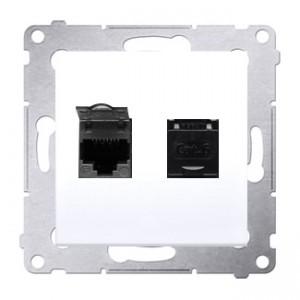 Simon 54 D62.01/11 - Gniazdo komputerowe podwójne 2xRJ45 kat. 6 z przesłoną przeciwkurzową - Biały - Podgląd zdjęcia nr 1