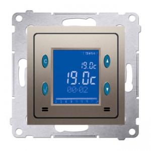 Simon 54 D75817.01/44 - Termostat elektroniczny z programatorem tygodniowym, wyświetlaczem LCD i wewnętrznym czujnikiem temperatury - Złoty Mat - Podgląd zdjęcia nr 1