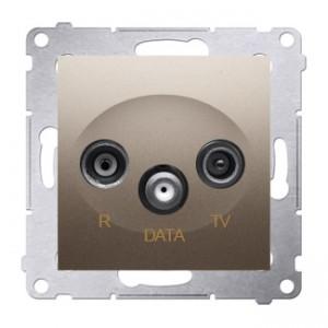 Simon 54 DAD.01/44 - Gniazdo R-TV-DATA (pod internet kablowy) - Złoty Mat - Podgląd zdjęcia nr 1