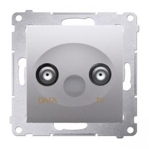Simon 54 DAD1.01/43 - Gniazdo TV-DATA (pod internet kablowy) - Srebrny Mat - Podgląd zdjęcia nr 1