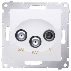Simon 54 DASK2.01/11 - Gniazdo antenowe RTV-SAT-SAT satelitarne podwójne - Biały - Podgląd zdjęcia nr 1