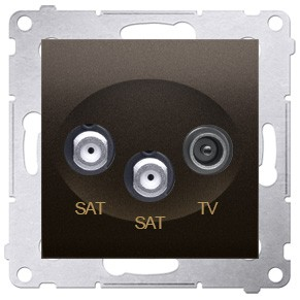 Simon 54 DASK2.01/46 - Gniazdo antenowe RTV-SAT-SAT satelitarne podwójne - Brąz Mat - Podgląd zdjęcia nr 1