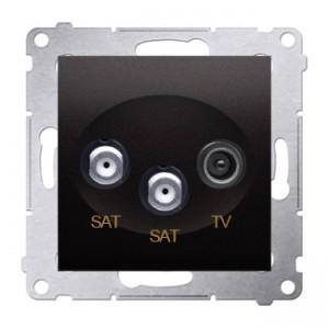 Simon 54 DASK2.01/48 - Gniazdo antenowe RTV-SAT-SAT satelitarne podwójne - Antracyt - Podgląd zdjęcia nr 1