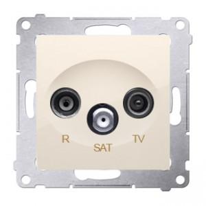 Simon 54 DASP.01/41 - Gniazdo antenowe R-TV-SAT przelotowe - Kremowy - Podgląd zdjęcia nr 1