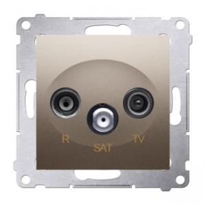 Simon 54 DASP.01/44 - Gniazdo antenowe R-TV-SAT przelotowe - Złoty Mat - Podgląd zdjęcia nr 1