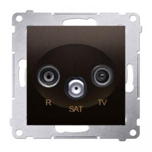 Simon 54 DASP.01/46 - Gniazdo antenowe R-TV-SAT przelotowe - Brąz Mat - Podgląd zdjęcia nr 1