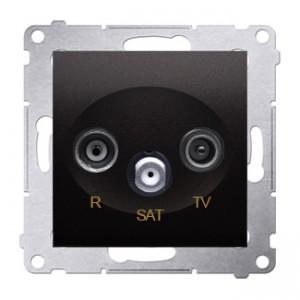 Simon 54 DASP.01/48 - Gniazdo antenowe R-TV-SAT przelotowe - Antracyt - Podgląd zdjęcia nr 1