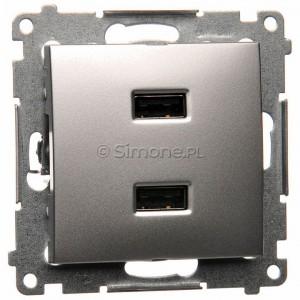 Simon 54 DC2USB.01/43 - Podwójna ładowarka USB - Srebrny Mat - Podgląd zdjęcia nr 1