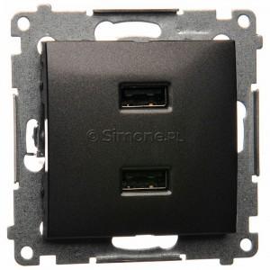Simon 54 DC2USB.01/48 - Podwójna ładowarka USB - Antracyt - Podgląd zdjęcia nr 1