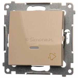 Simon 54 DD1L.01/41 - Przycisk dzwonkowy z podświetleniem typu LED w kolorze niebieskim 10A - Kremowy - Podgląd zdjęcia nr 1