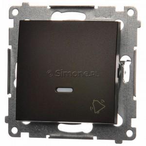Simon 54 DD1L.01/46 - Przycisk dzwonkowy z podświetleniem typu LED w kolorze niebieskim 10A - Brąz Mat - Podgląd zdjęcia nr 1
