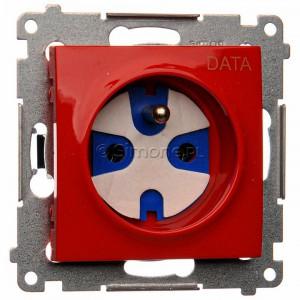 Simon 54 DGD1.01/22 - Gniazdo pojedyncze z bolcem uziemiającym typu DATA - Czerwony - Podgląd zdjęcia nr 1