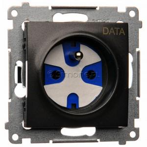 Simon 54 DGD1.01/48 - Gniazdo pojedyncze z bolcem uziemiającym typu DATA - Antracyt - Podgląd zdjęcia nr 1