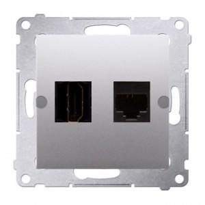 Simon 54 DGHRJ45.01/43 - Gniazdo HDMI pojedyncze + Gniazdo komputerowe kat.6 - Srebrny Mat - Podgląd zdjęcia nr 1