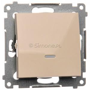 Simon 54 DP1AL.01/41 - Przycisk zwierny podwójny z podświetleniem typu LED w kolorze niebieskim 16A - Kremowy - Podgląd zdjęcia nr 1