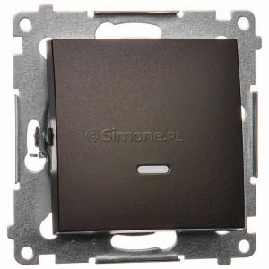 Simon 54 DP1L.01/46 - Przycisk zwierny pojedynczy z podświetleniem typu LED w kolorze niebieskim 10A - Brąz Mat - Podgląd zdjęcia nr 1