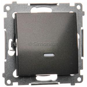 Simon 54 DP1L.01/48 - Przycisk zwierny pojedynczy z podświetleniem typu LED w kolorze niebieskim 10A - Antracyt - Podgląd zdjęcia nr 1