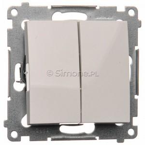 Simon 54 DP2.01/11 - Przycisk zwierny podwójny - Biały - Podgląd zdjęcia nr 1