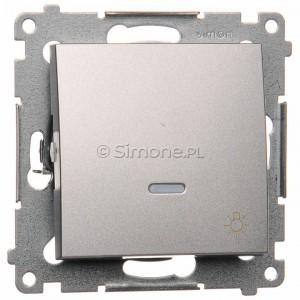Simon 54 DS1L.01/43 - Przycisk zwierny z symbolem światła i podświetleniem typu LED w kolorze niebieskim 10A - Srebrny Mat - Podgląd zdjęcia nr 1
