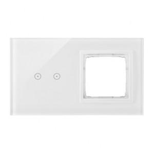 Simon 54 DSTR220/70 - Panel Simon Touch Szkło 2-Modułowy, 1M z dwoma polami dotykowymi w poziomie (ST2M lub ST2S), 2M z dowolnym elementem osprzętu z serii Simon 54 - Biała Perła - Podgląd zdjęcia nr 1