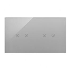 Simon 54 DSTR222/71 - Panel Simon Touch Szkło 2-Modułowy, 1M z dwoma polami dotykowymi w poziomie (ST2M lub ST2S), 2M z dwoma polami dotykowymi w poziomie (ST2M lub ST2S) - Srebrna Mgła - Podgląd zdjęcia nr 1
