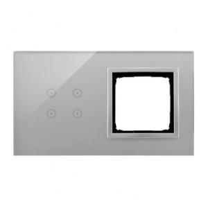 Simon 54 DSTR240/71 - Panel Simon Touch Szkło 2-Modułowy, 1M z czterema polami dotykowymi (ST2Z), 2M z dowolnym elementem osprzętu z serii Simon 54 - Srebrna Mgła - Podgląd zdjęcia nr 1