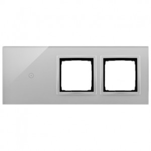 Simon 54 DSTR3100/71 - Panel Simon Touch Szkło 3-Modułowy, 1M z jednym polem dotykowym (ST1M lub ST1S), 2M z dowolnym elementem osprzętu z serii Simon 54, 3M z dowolnym elementem osprzętu z serii Simon 54 - Srebrna Mgła - Podgląd zdjęcia nr 1