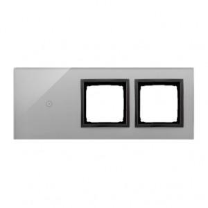 Simon 54 DSTR3100/72 - Panel Simon Touch Szkło 3-Modułowy, 1M z jednym polem dotykowym (ST1M lub ST1S), 2M z dowolnym elementem osprzętu z serii Simon 54, 3M z dowolnym elementem osprzętu z serii Simon 54 - Burzowa Chmura - Podgląd zdjęcia nr 1