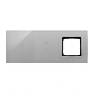 Simon 54 DSTR3130/71 - Panel Simon Touch Szkło 3-Modułowy, 1M z jednym polem dotykowym (ST1M lub ST1S), 2M z dwoma polami dotykowymi w pionie (ST1Z), 3M z dowolnym elementem osprzętu z serii Simon 54 - Srebrna Mgła - Podgląd zdjęcia nr 1