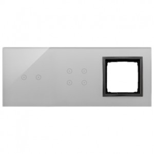 Simon 54 DSTR3240/72 - Panel Simon Touch Szkło 3-Modułowy, 1M z dwoma polami dotykowymi w poziomie (ST2M lub ST2S), 2M z czterema polami dotykowymi (ST2Z), 3M z dowolnym elementem osprzętu z serii Simon 54 - Burzowa Chmura - Podgląd zdjęcia nr 1