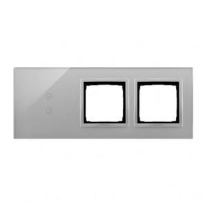 Simon 54 DSTR3300/71 - Panel Simon Touch Szkło 3-Modułowy, 1M z dwoma polami dotykowymi w pionie (ST1Z), 2M z dowolnym elementem osprzętu z serii Simon 54, 3M z dowolnym elementem osprzętu z serii Simon 54 - Srebrna Mgła - Podgląd zdjęcia nr 1