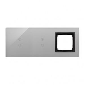 Simon 54 DSTR3330/72 - Panel Simon Touch Szkło 3-Modułowy, 1M z dwoma polami dotykowymi w pionie (ST1Z), 2M z dwoma polami dotykowymi w pionie (ST1Z), 3M z dowolnym elementem osprzętu z serii Simon 54 - Burzowa Chmura - Podgląd zdjęcia nr 1