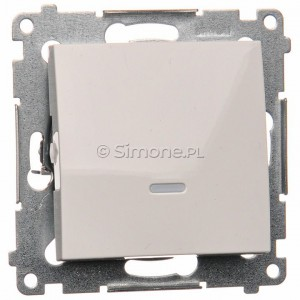 Simon 54 DW1AL.01/11 - Łącznik pojedynczy z podświetleniem typu LED w kolorze niebieskim 16A - Biały - Podgląd zdjęcia nr 1