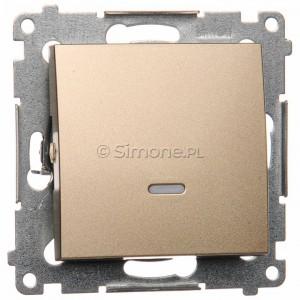 Simon 54 DW1AL.01/44 - Łącznik pojedynczy z podświetleniem typu LED w kolorze niebieskim 16A - Złoty Mat - Podgląd zdjęcia nr 1