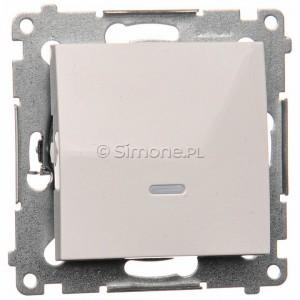Simon 54 DW1L.01/11 - Łącznik pojedynczy z podświetleniem typu LED w kolorze niebieskim 10A - Biały - Podgląd zdjęcia nr 1