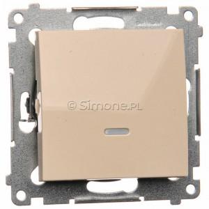 Simon 54 DW1L.01/41 - Łącznik pojedynczy z podświetleniem typu LED w kolorze niebieskim 10A - Kremowy - Podgląd zdjęcia nr 1