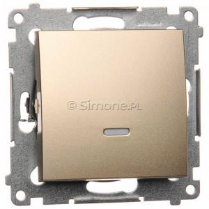 Simon 54 DW1L.01/44 - Łącznik pojedynczy z podświetleniem typu LED w kolorze niebieskim 10A - Złoty Mat - Podgląd zdjęcia nr 1