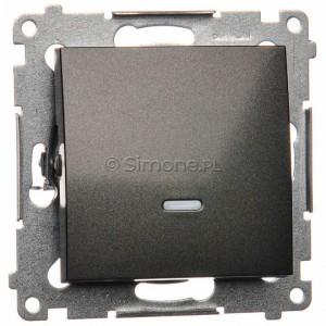 Simon 54 DW1L.01/48 - Łącznik pojedynczy z podświetleniem typu LED w kolorze niebieskim 10A - Antracyt - Podgląd zdjęcia nr 1