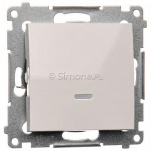Simon 54 DW1ZL.01/11 - Łącznik pojedynczy z sygnalizacją załączenia typu LED w kolorze niebieskim - Biały - Podgląd zdjęcia nr 1