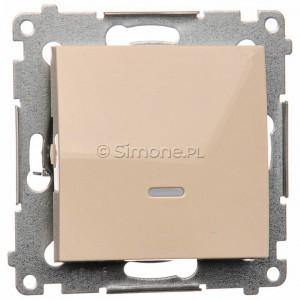 Simon 54 DW1ZL.01/41 - Łącznik pojedynczy z sygnalizacją załączenia typu LED w kolorze niebieskim - Kremowy - Podgląd zdjęcia nr 1