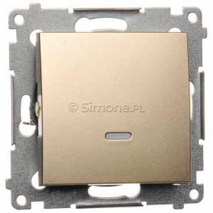 Simon 54 DW1ZL.01/44 - Łącznik pojedynczy z sygnalizacją załączenia typu LED w kolorze niebieskim - Złoty Mat - Podgląd zdjęcia nr 1