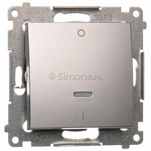 Simon 54 DW2L.01/43 - Łącznik dwubiegunowy z podświetleniem typu LED w kolorze niebieskim - Srebrny Mat - Podgląd zdjęcia nr 1