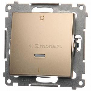 Simon 54 DW2L.01/44 - Łącznik dwubiegunowy z podświetleniem typu LED w kolorze niebieskim - Złoty Mat - Podgląd zdjęcia nr 1