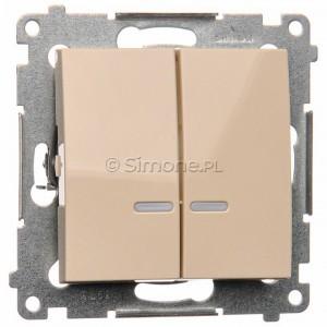 Simon 54 DW5ABL.01/41 - Łącznik podwójny do wersji IP44 z podświetleniem typu LED w kolorze niebieskim 16A - Kremowy - Podgląd zdjęcia nr 1