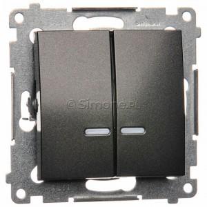 Simon 54 DW5ABL.01/48 - Łącznik podwójny do wersji IP44 z podświetleniem typu LED w kolorze niebieskim 16A - Antracyt - Podgląd zdjęcia nr 1