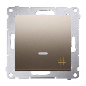 Simon 54 DW7L.01/44 - Łącznik krzyżowy z podświetleniem typu LED w kolorze niebieskim - Złoty Mat - Podgląd zdjęcia nr 1